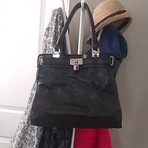 Leather black large size purse purchased in Italy
